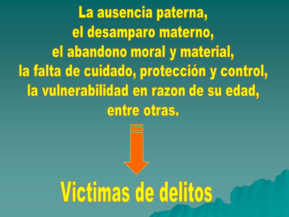 Victimas de delitos La ausencia paterna, el desamparo materno,