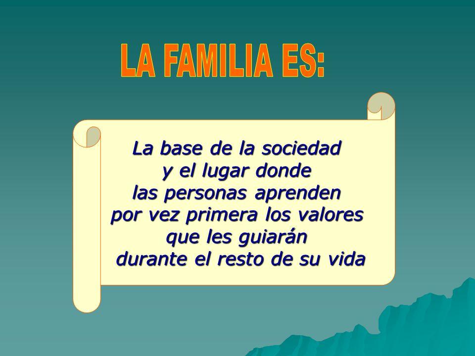 LA FAMILIA ES: La base de la sociedad y el lugar donde