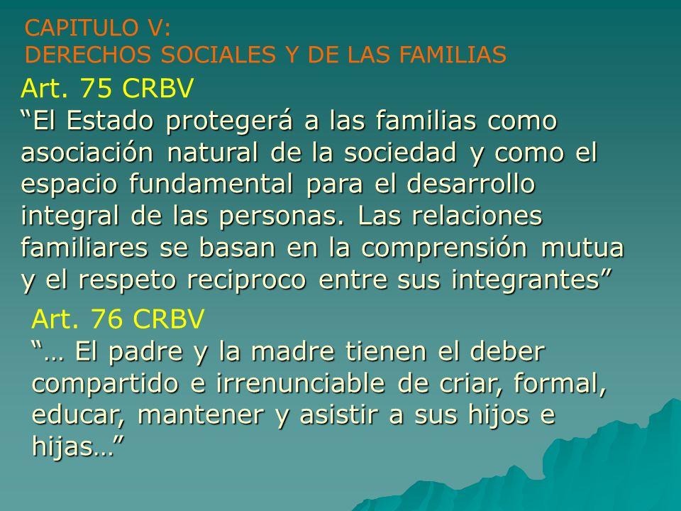 CAPITULO V: DERECHOS SOCIALES Y DE LAS FAMILIAS. Art. 75 CRBV.