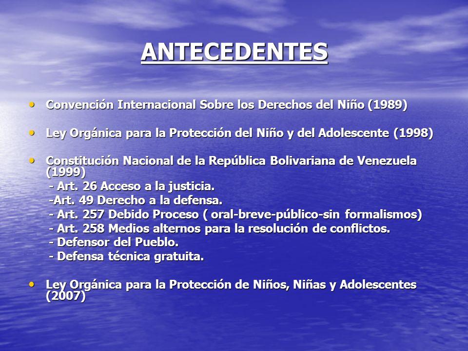 ANTECEDENTES Convención Internacional Sobre los Derechos del Niño (1989) Ley Orgánica para la Protección del Niño y del Adolescente (1998)