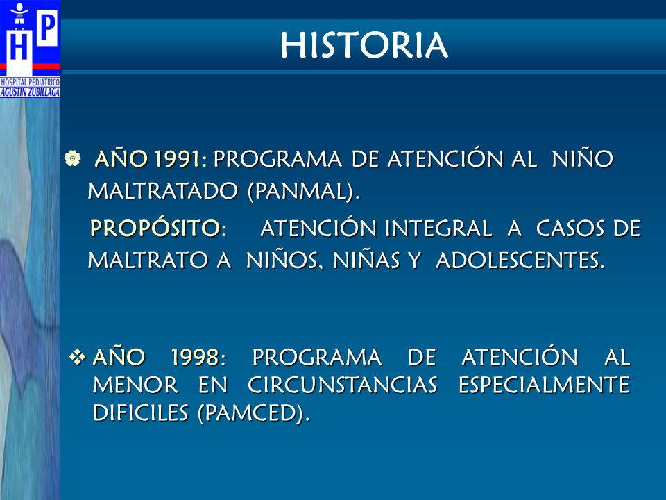 HISTORIA AÑO 1991: PROGRAMA DE ATENCIÓN AL NIÑO MALTRATADO (PANMAL).