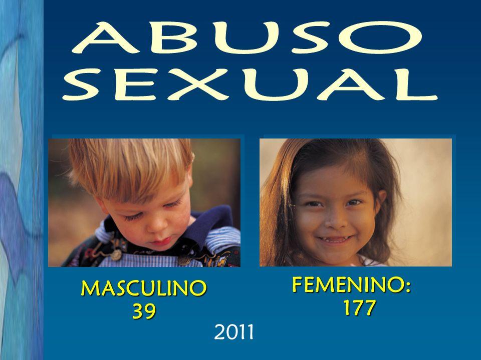 ABUSO SEXUAL FEMENINO: 177 MASCULINO 39 2011