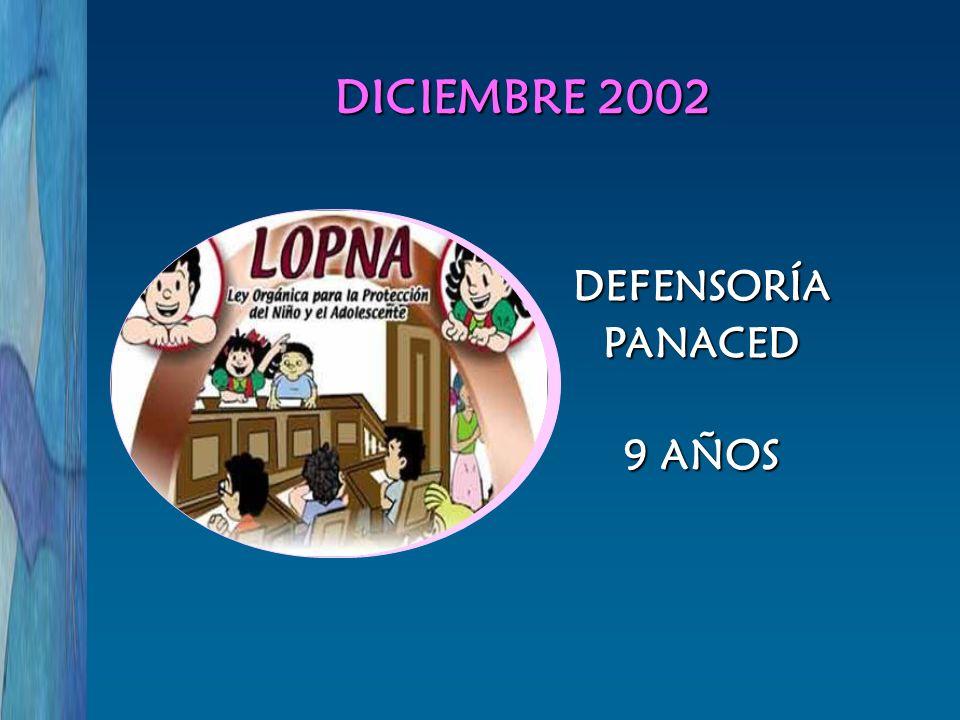 DICIEMBRE 2002 DEFENSORÍA PANACED 9 AÑOS