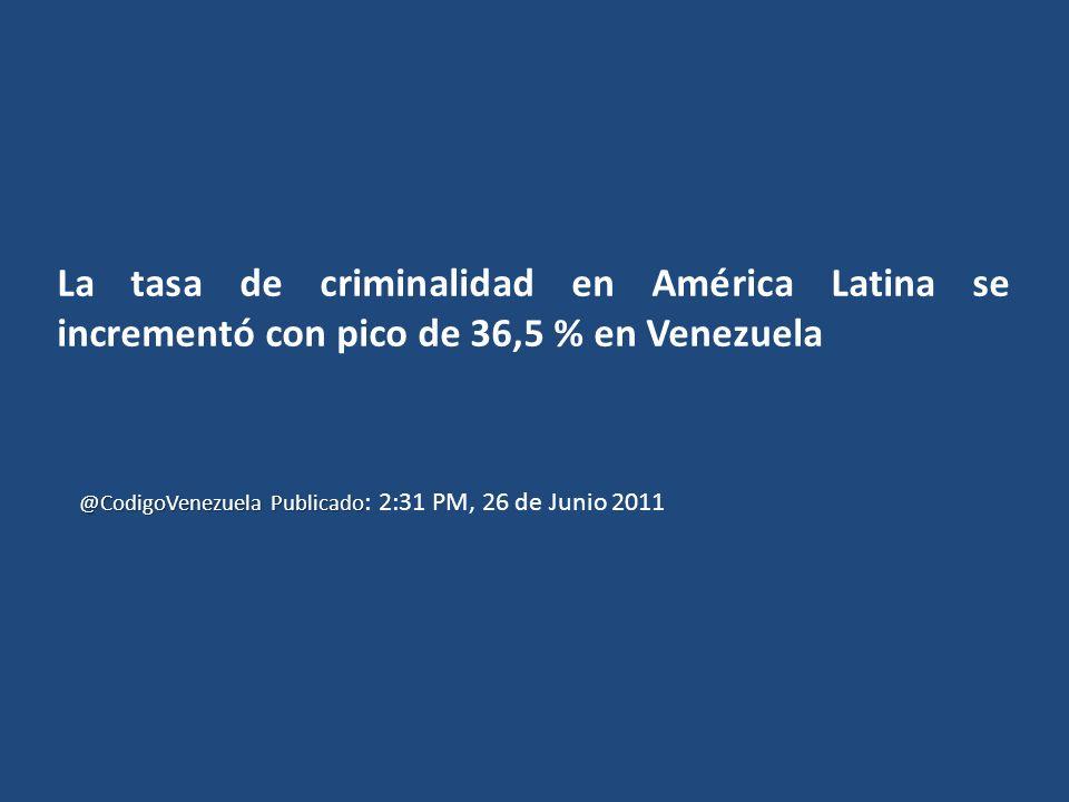 La tasa de criminalidad en América Latina se incrementó con pico de 36,5 % en Venezuela
