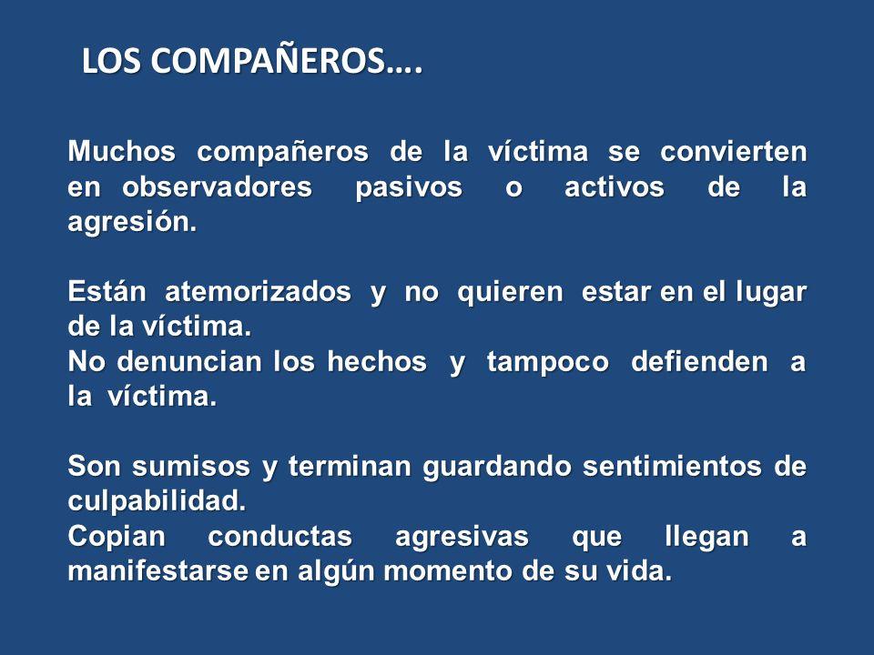 LOS COMPAÑEROS…. Muchos compañeros de la víctima se convierten en observadores pasivos o activos de la agresión.