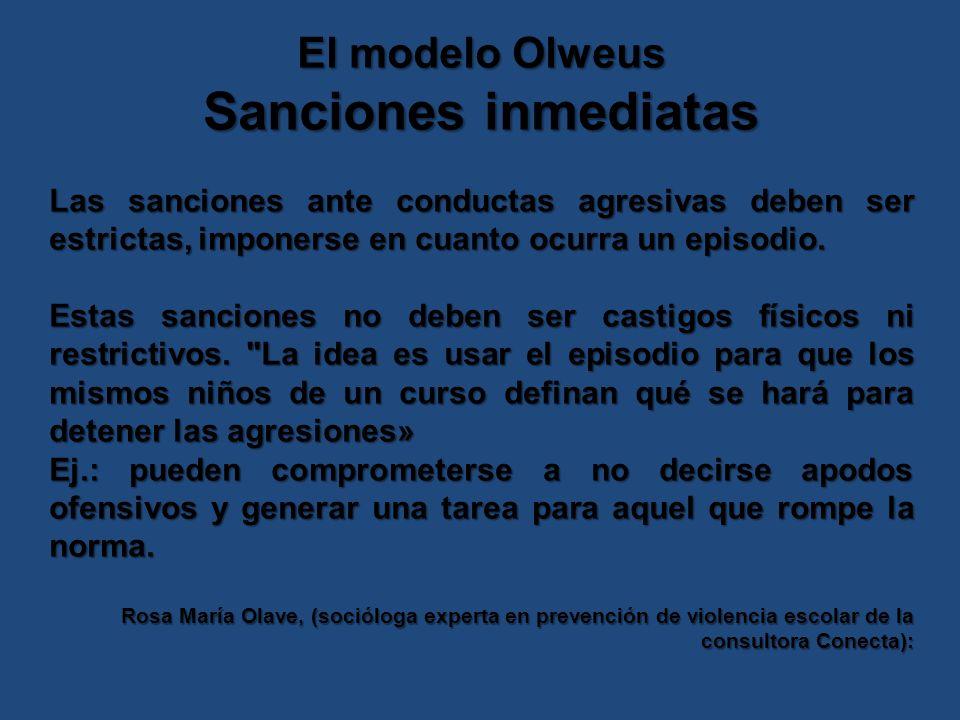 Sanciones inmediatas El modelo Olweus