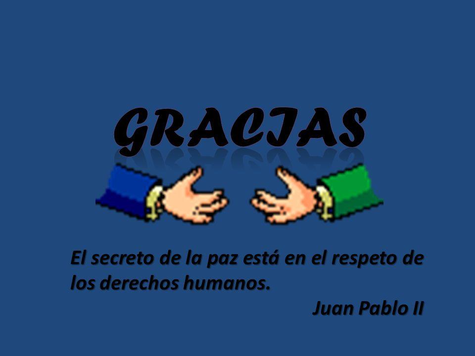 GRACIAS El secreto de la paz está en el respeto de los derechos humanos. Juan Pablo II