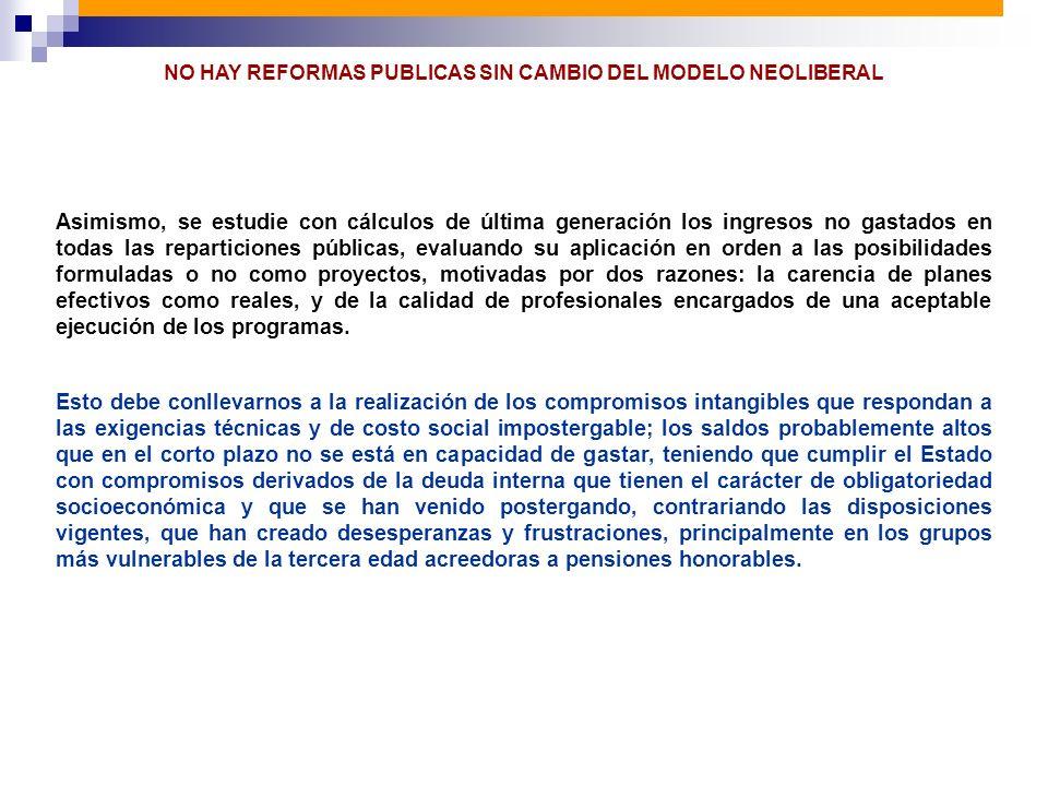 NO HAY REFORMAS PUBLICAS SIN CAMBIO DEL MODELO NEOLIBERAL