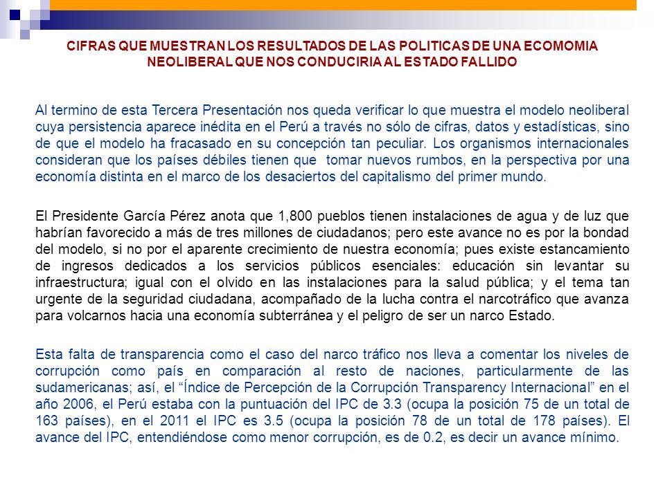 CIFRAS QUE MUESTRAN LOS RESULTADOS DE LAS POLITICAS DE UNA ECOMOMIA NEOLIBERAL QUE NOS CONDUCIRIA AL ESTADO FALLIDO
