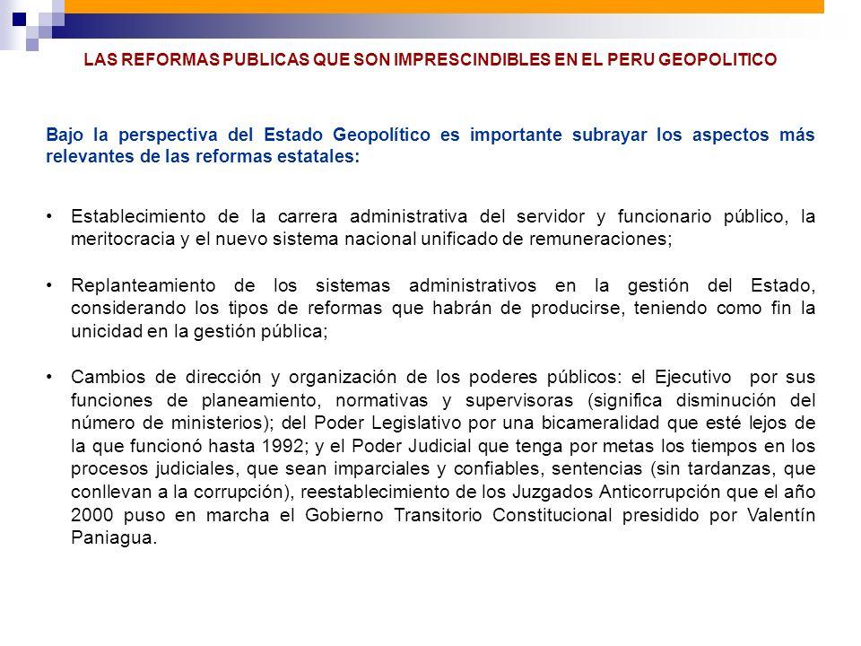 LAS REFORMAS PUBLICAS QUE SON IMPRESCINDIBLES EN EL PERU GEOPOLITICO