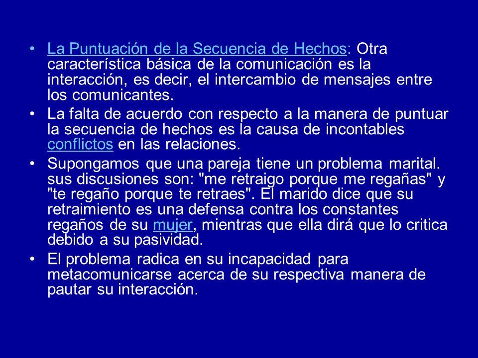 La Puntuación de la Secuencia de Hechos: Otra característica básica de la comunicación es la interacción, es decir, el intercambio de mensajes entre los comunicantes.