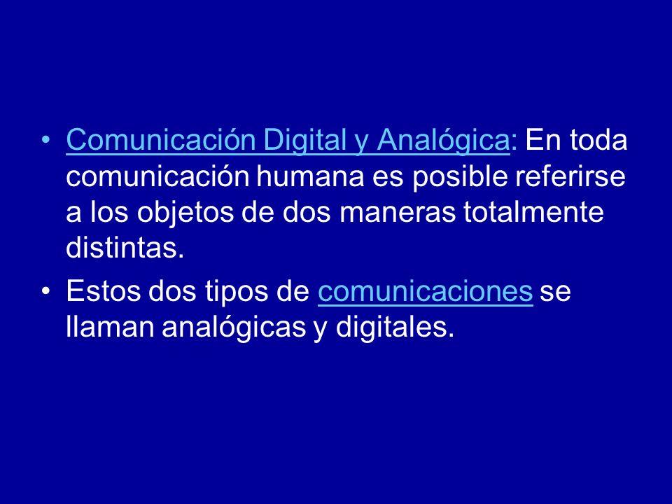 Comunicación Digital y Analógica: En toda comunicación humana es posible referirse a los objetos de dos maneras totalmente distintas.