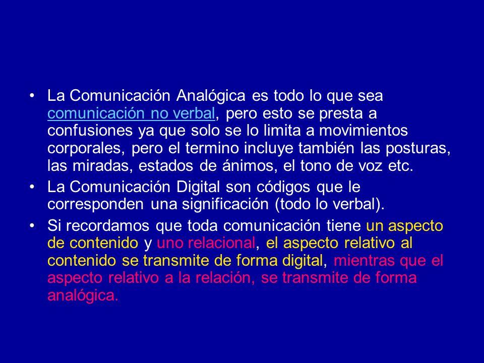 La Comunicación Analógica es todo lo que sea comunicación no verbal, pero esto se presta a confusiones ya que solo se lo limita a movimientos corporales, pero el termino incluye también las posturas, las miradas, estados de ánimos, el tono de voz etc.