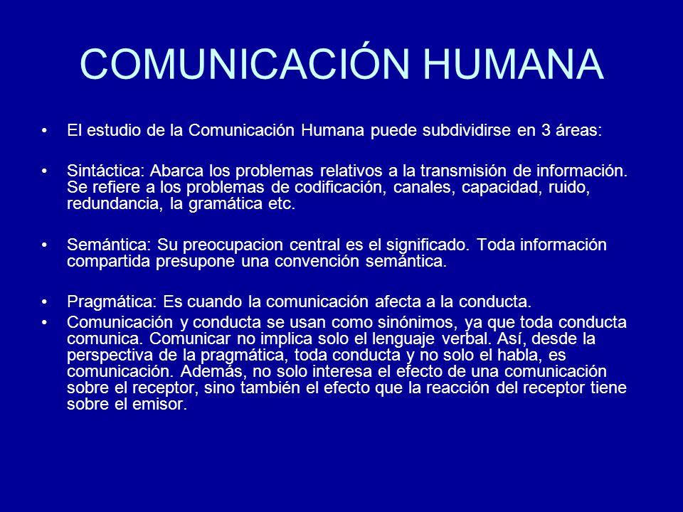 COMUNICACIÓN HUMANA El estudio de la Comunicación Humana puede subdividirse en 3 áreas: