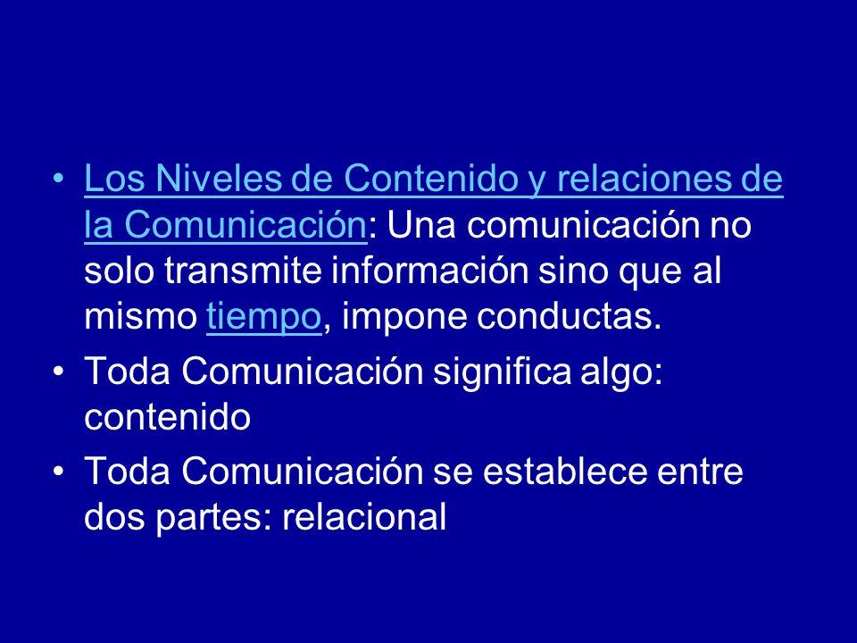Los Niveles de Contenido y relaciones de la Comunicación: Una comunicación no solo transmite información sino que al mismo tiempo, impone conductas.