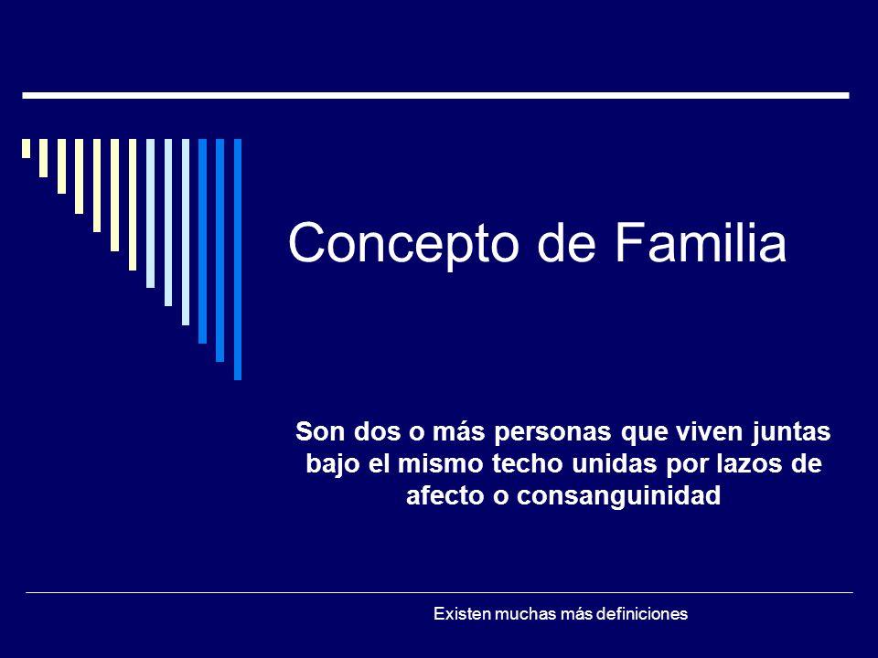 Concepto de Familia Son dos o más personas que viven juntas bajo el mismo techo unidas por lazos de afecto o consanguinidad.