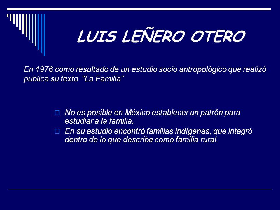 LUIS LEÑERO OTERO En 1976 como resultado de un estudio socio antropológico que realizó publica su texto La Familia