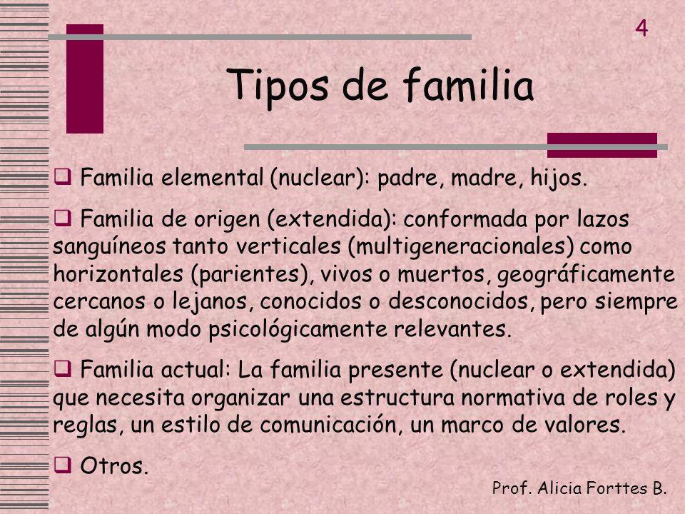 Tipos de familia 4 Familia elemental (nuclear): padre, madre, hijos.