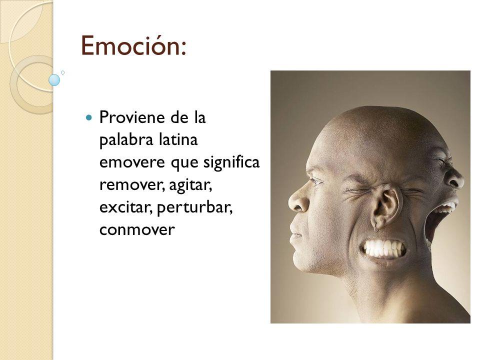 Emoción:Proviene de la palabra latina emovere que significa remover, agitar, excitar, perturbar, conmover.