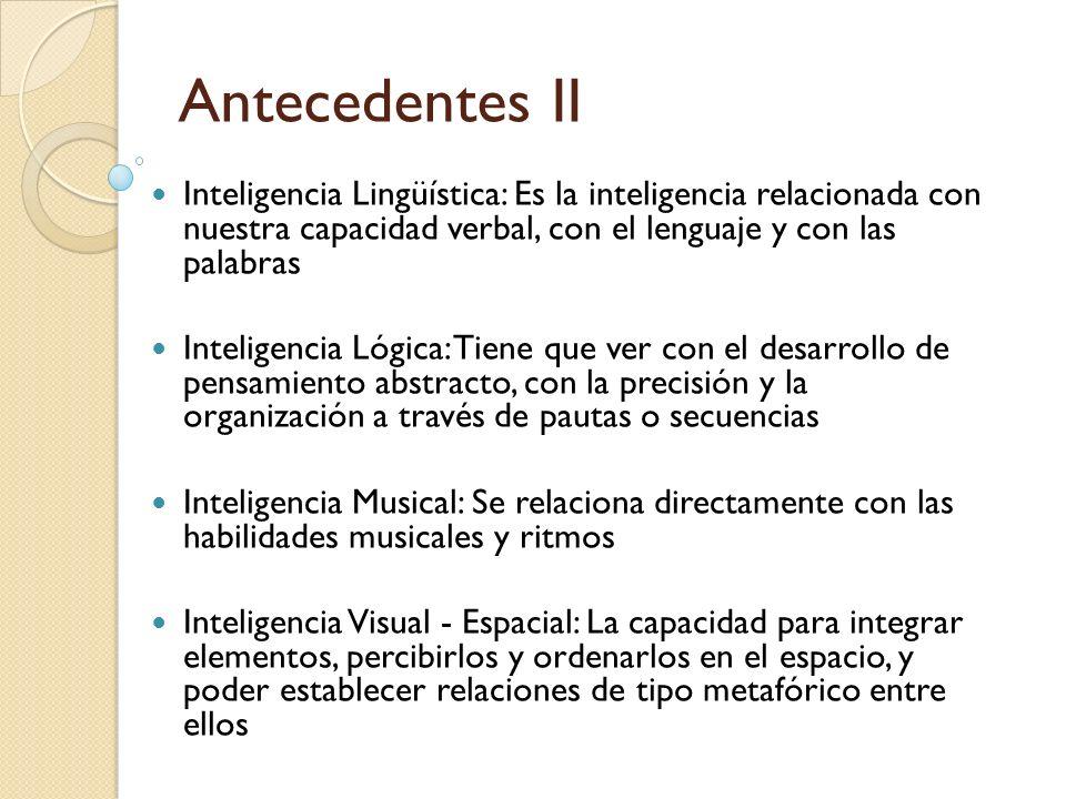 Antecedentes II Inteligencia Lingüística: Es la inteligencia relacionada con nuestra capacidad verbal, con el lenguaje y con las palabras.