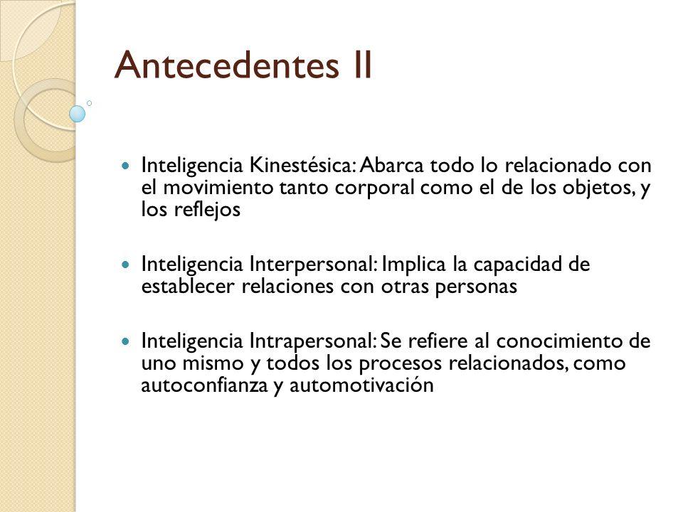 Antecedentes IIInteligencia Kinestésica: Abarca todo lo relacionado con el movimiento tanto corporal como el de los objetos, y los reflejos.