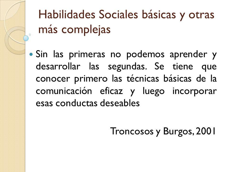 Habilidades Sociales básicas y otras más complejas