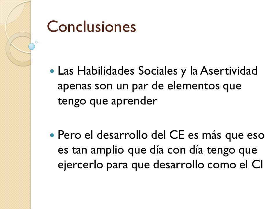Conclusiones Las Habilidades Sociales y la Asertividad apenas son un par de elementos que tengo que aprender.