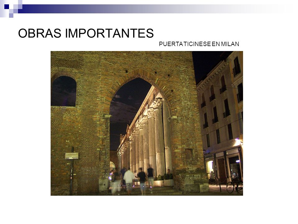 OBRAS IMPORTANTES PUERTA TICINESE EN MILAN