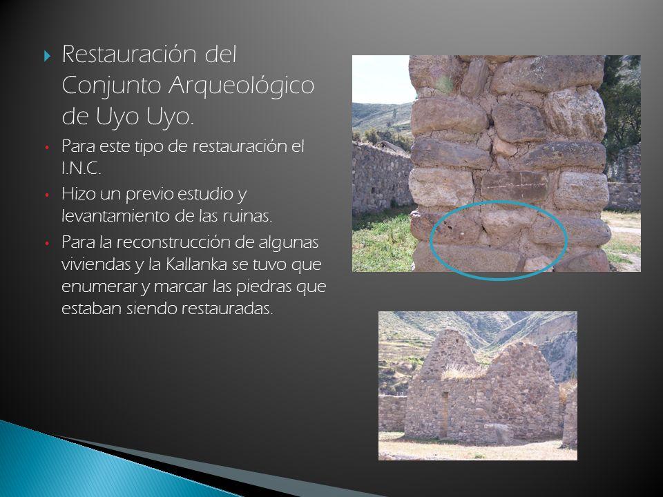 Restauración del Conjunto Arqueológico de Uyo Uyo.