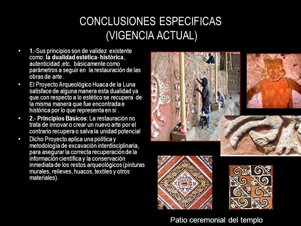 CONCLUSIONES ESPECIFICAS (VIGENCIA ACTUAL)