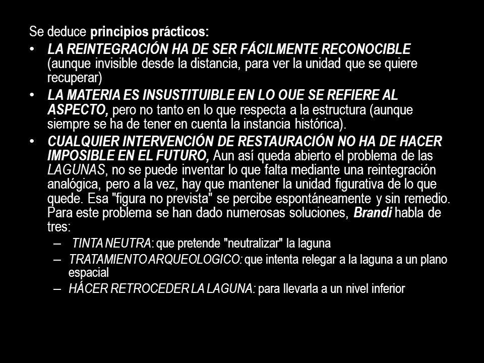 Se deduce principios prácticos: