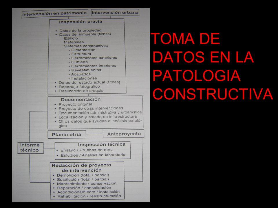 TOMA DE DATOS EN LA PATOLOGIA CONSTRUCTIVA