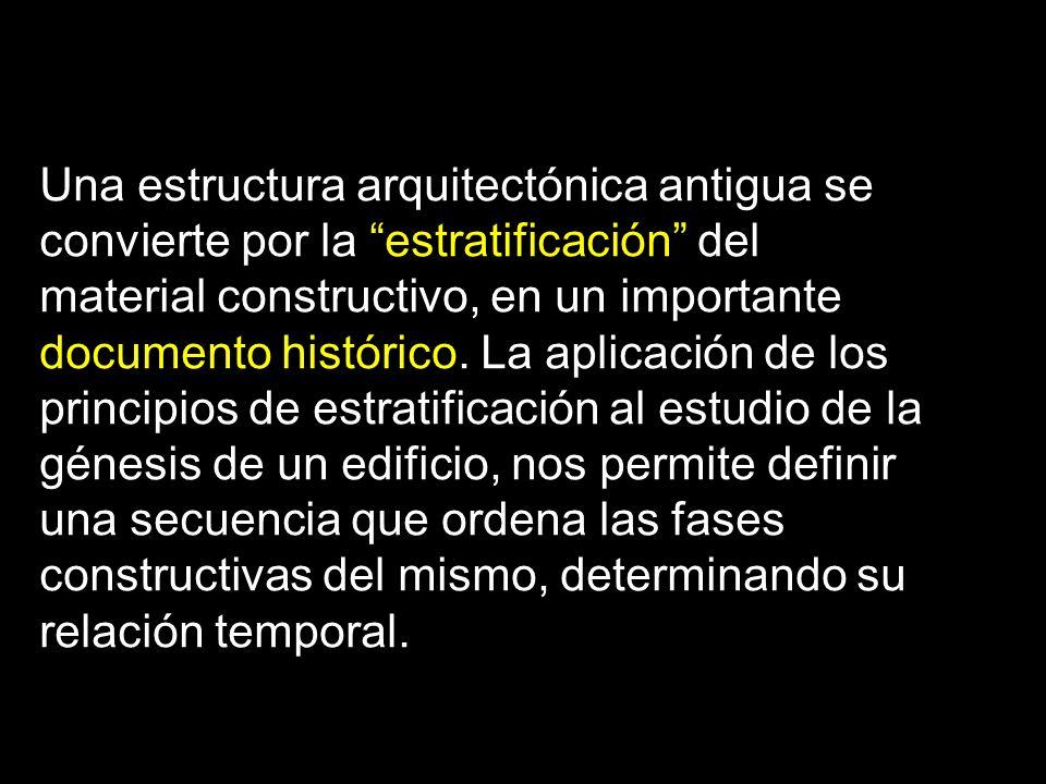Una estructura arquitectónica antigua se convierte por la estratificación del material constructivo, en un importante documento histórico.