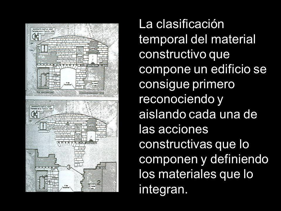 La clasificación temporal del material constructivo que compone un edificio se consigue primero reconociendo y aislando cada una de las acciones constructivas que lo componen y definiendo los materiales que lo integran.
