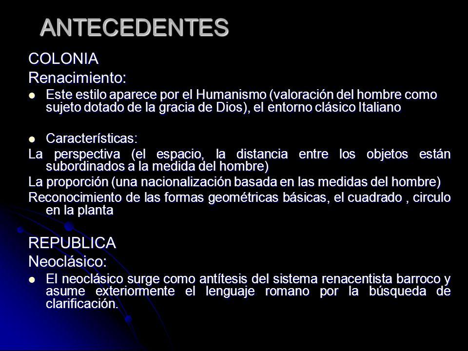 ANTECEDENTES COLONIA Renacimiento: REPUBLICA Neoclásico: