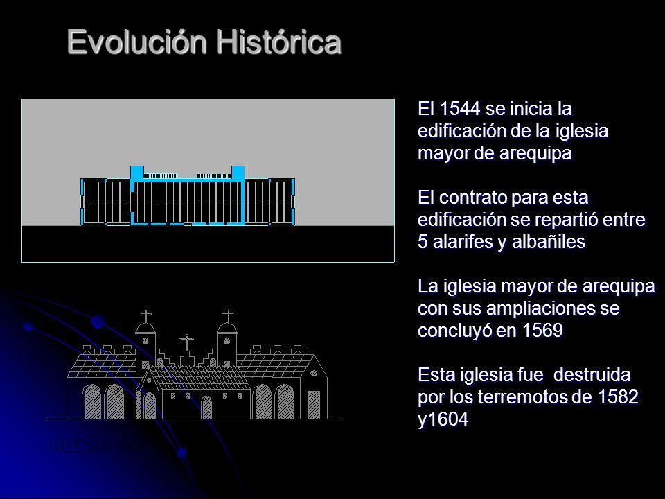 Evolución Histórica El 1544 se inicia la edificación de la iglesia mayor de arequipa.