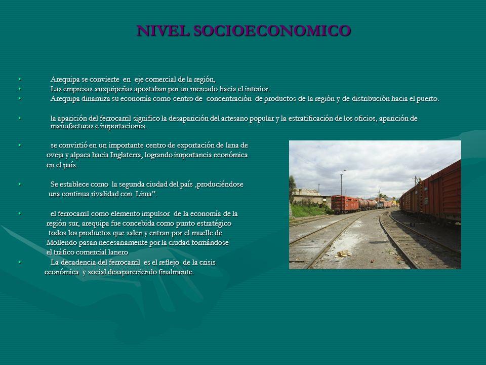 NIVEL SOCIOECONOMICO Arequipa se convierte en eje comercial de la región, Las empresas arequipeñas apostaban por un mercado hacia el interior.