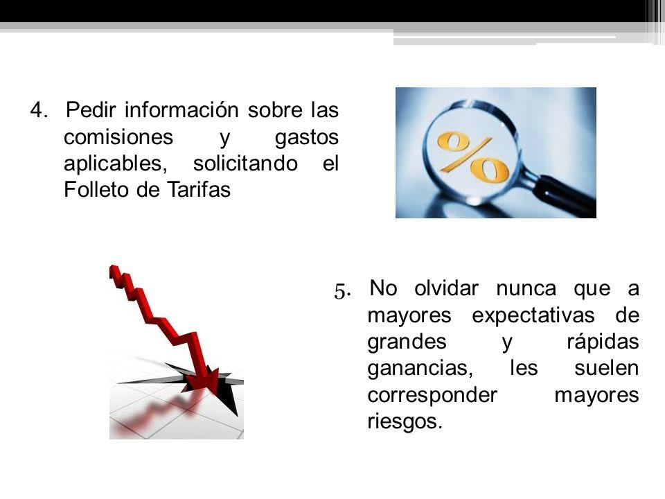 4. Pedir información sobre las comisiones y gastos aplicables, solicitando el Folleto de Tarifas