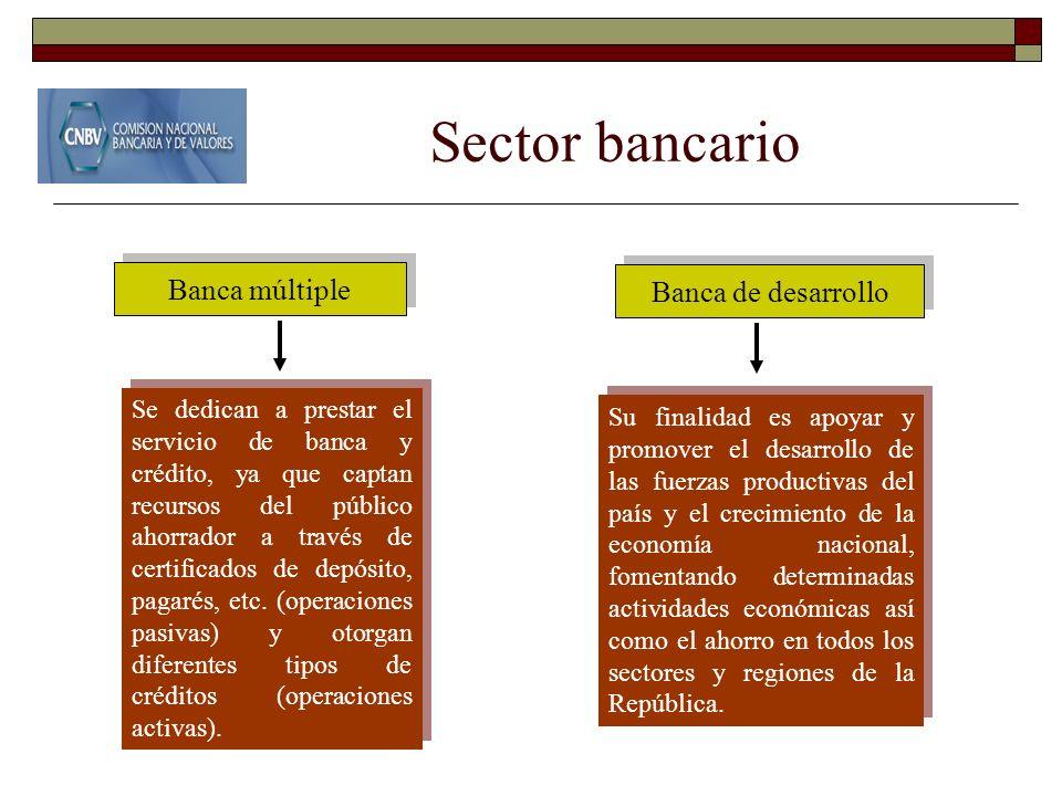 Sector bancario Banca múltiple Banca de desarrollo