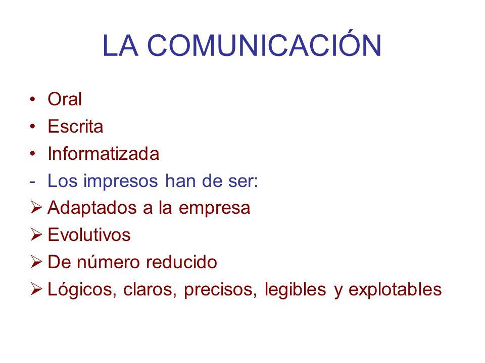 LA COMUNICACIÓN Oral Escrita Informatizada Los impresos han de ser: