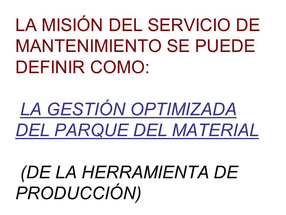 LA MISIÓN DEL SERVICIO DE MANTENIMIENTO SE PUEDE DEFINIR COMO: LA GESTIÓN OPTIMIZADA DEL PARQUE DEL MATERIAL (DE LA HERRAMIENTA DE PRODUCCIÓN)