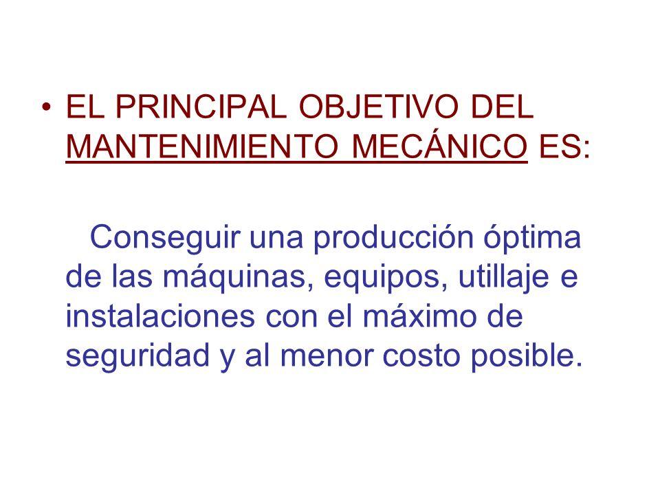EL PRINCIPAL OBJETIVO DEL MANTENIMIENTO MECÁNICO ES:
