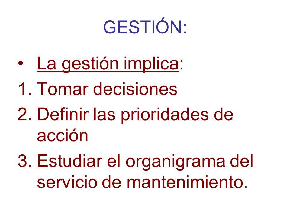 GESTIÓN: La gestión implica: Tomar decisiones. Definir las prioridades de acción.