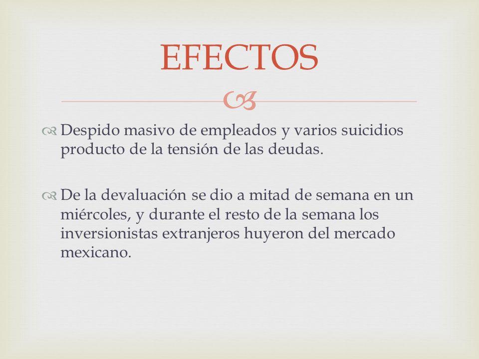 EFECTOS Despido masivo de empleados y varios suicidios producto de la tensión de las deudas.