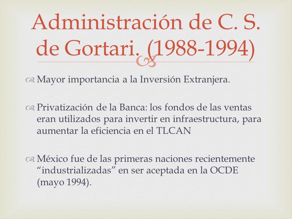 Administración de C. S. de Gortari. (1988-1994)