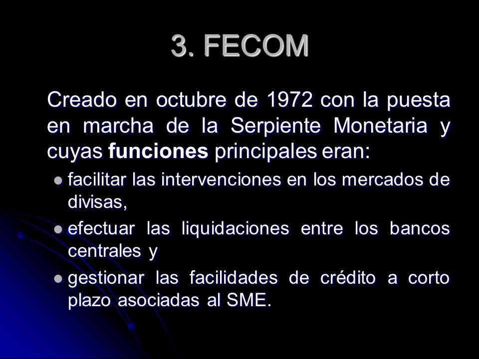 3. FECOMCreado en octubre de 1972 con la puesta en marcha de la Serpiente Monetaria y cuyas funciones principales eran: