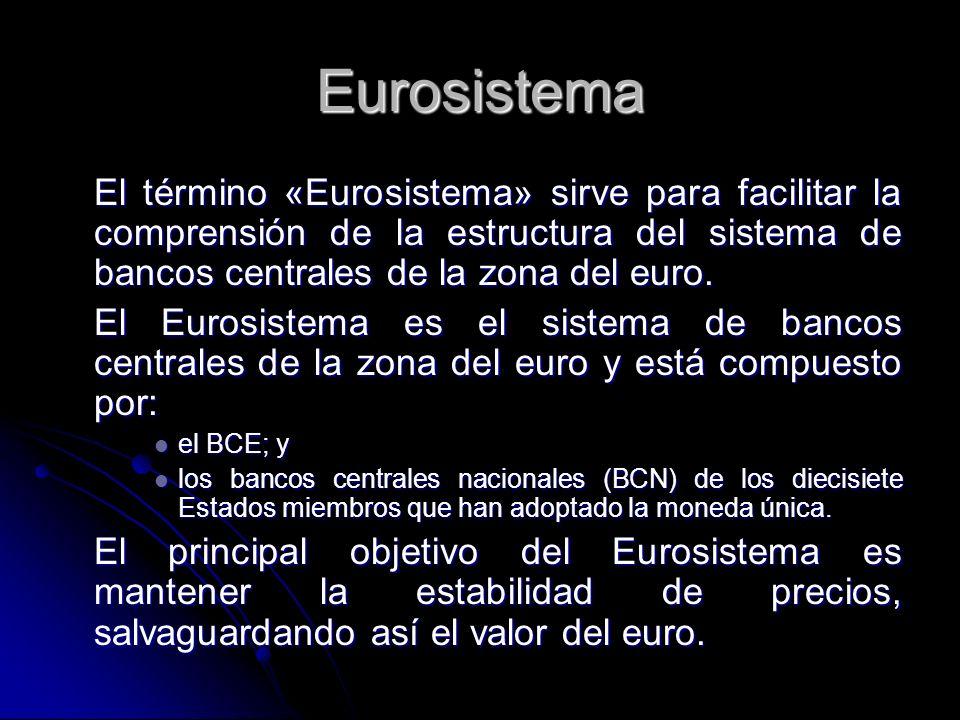 Eurosistema El término «Eurosistema» sirve para facilitar la comprensión de la estructura del sistema de bancos centrales de la zona del euro.
