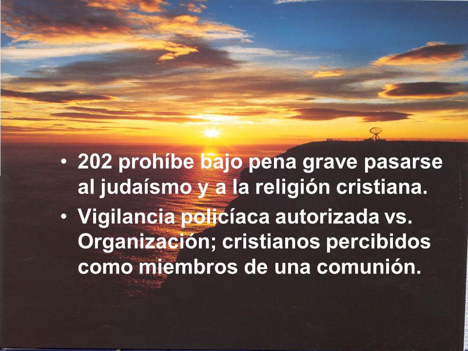 202 prohíbe bajo pena grave pasarse al judaísmo y a la religión cristiana.