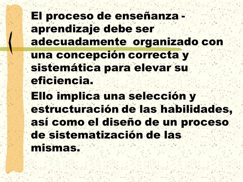 El proceso de enseñanza - aprendizaje debe ser adecuadamente organizado con una concepción correcta y sistemática para elevar su eficiencia.