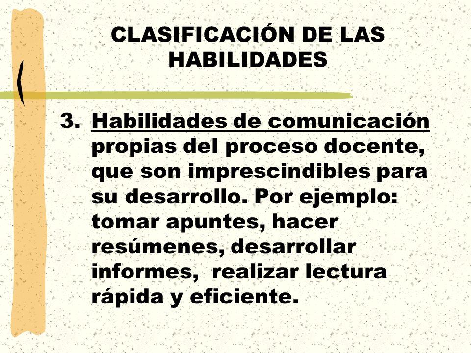 CLASIFICACIÓN DE LAS HABILIDADES